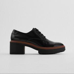 NWT. Zara Black Heeled Derby Shoes. Size 8.